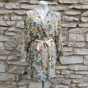 Vintage Sheer Floral Dolman Sleeve Kimono Robe M